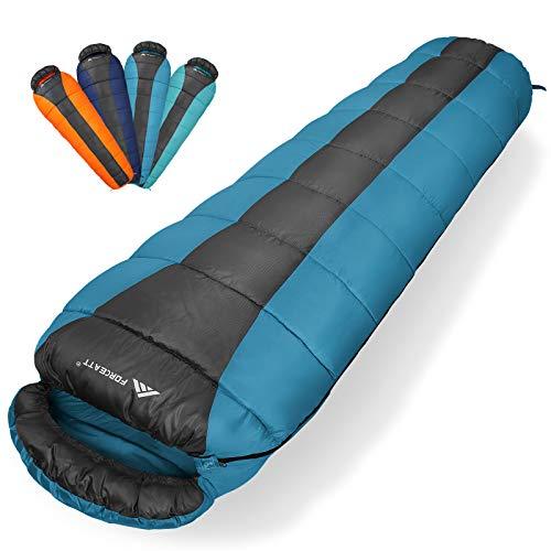Forceatt Saco de Dormir Rectangular para Acampar, para 3-4 Estaciones, con Bolsa de compresión y Capucha para Viajes, Camping, Senderismo,215 x 80 cm, Temperatura Ideal 0-20°C