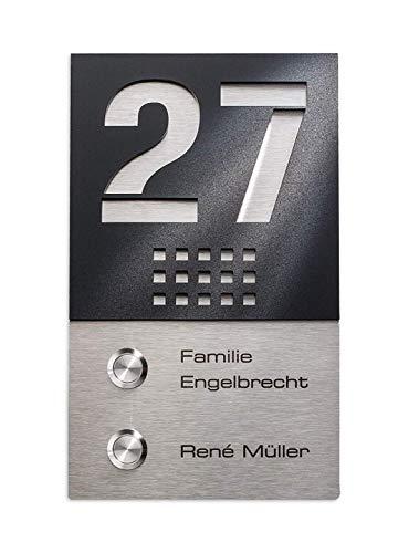 Metzler Funkklingel Edelstahl Mehrfamilien-Türklingel mit 2 Sendern - 2 Funk-Gongs - Gravur - hohe Reichweite - Aufputz-Montage