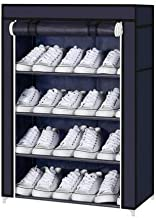 Cyleel 4 Layer Multipurpose Portable Folding Shoes Rack/Shoes Shelf/Shoes Cabinet with Wardrobe Cover, Easy Installation Stand for Shoes(Shoes Rack)(Shoes Rack, Shoes Racks for Home)_4 Layer Navyblue