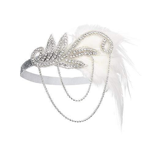 JISEN 1920s Flapper Vintage Feather Gatsby Crystal Headpiece Silver