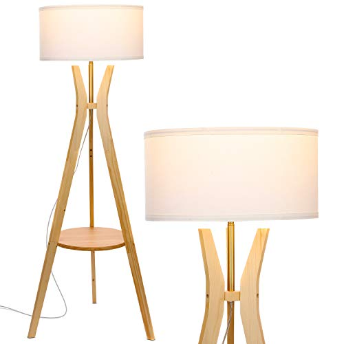 Brightech Charlotte: Rustic Shelf LED Floor Lamp - Tripod Standing Light for Mid Century Modern Living Rooms & Bedrooms - Contemporary, Tall Office Lamp - Drum Shade - Includes LED Bulb