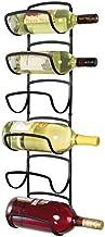 mDesign Modern Decorative Metal Wine Bottle Storage Organizer Rack Holder - 6 Level Design - Wall Mount - Black