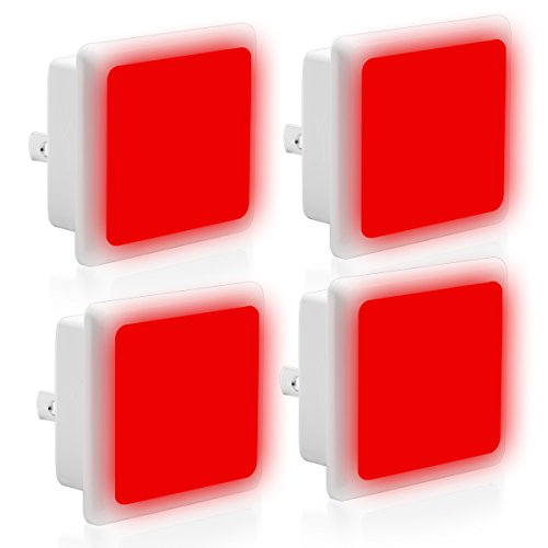 LOHAS Red Night Light, LED Dusk to Dawn Night Lights Plug in, Red Light Night Light with Light Sensor, Auto on/Off Nightlights, 0.3W Ultra Slim, Small Sized Light for Bedroom, Hallway, Nursery, 4 Pack