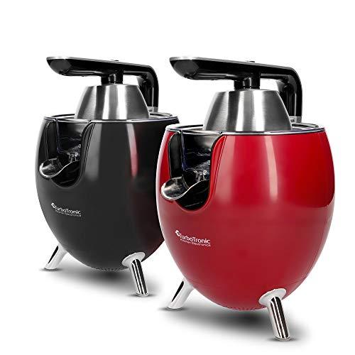 TurboTronic / Zitruspresse elektrisch / schwarz, rot / 300W, Saftpresse mit 2 Presskegeln, Edelstahlfilter und Hebelarm, Orangenpresse, Juicer Rot (Schwarz)