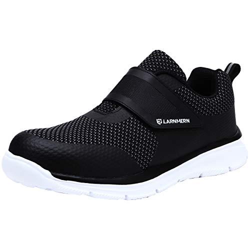 [LARNMERN] 安全靴 メンズ レディース 作業靴 おしゃれ 超軽量 セフティシューズ メッシュ スニーカー つま先保護 防刺 通気性 衝撃吸収 耐久性 通動 男女兼用(黒白、41)