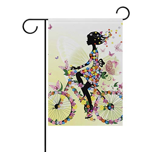 XiangHeFu Tuin Vlag Meisje Bloemenfiets Bloem Romantische Fiets 12x18 Inch (12