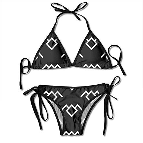 Damen Twin Peaks Owl Petroglyph Bikini Set Schnürung Verstellbare Zweiteilige Badeanzüge Sexy Badeanzug Schwarz