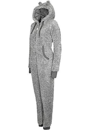 Eight2Nine Damen Jumpsuit aus kuscheligem Teddy Fleece | Overall | Ganzkörperanzug mit Ohren Dark-Grey - 5