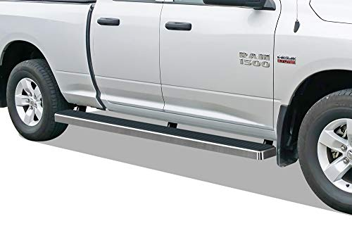 APS iBoard (Silver 5 inches Wheel to Wheel) Running Boards Nerf Bars Side Steps Step Rails Compatible with 2009-2018 Dodge Ram 1500 Quad Cab Pickup 6.5ft Bed