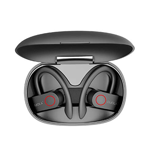 Duola Bluetooth 5.0 Earbuds with Ear Hook, Sport Wireless Headphones, Noise-Cancelling, 8 Hours Playtime, High Stereo-Sound Quality, Compatible with iOS/Android/Windows, Black