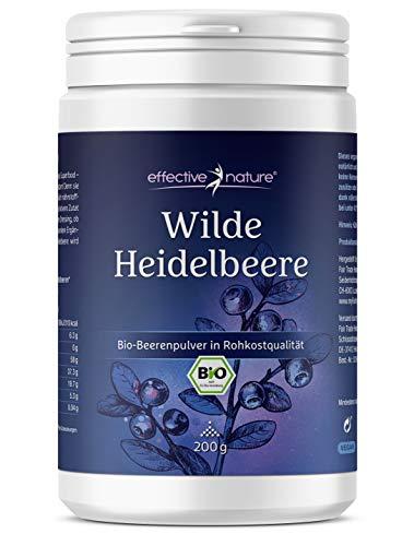 Wilde Heidelbeeren Bio - 200 g - Fruchtpulver in Rohkostqualität - Reich an Antioxidantien - Ohne Zusätze - Aus Europäischer Wildsammlung - Blaubeeren Pulver (Vaccinium myrtillus)