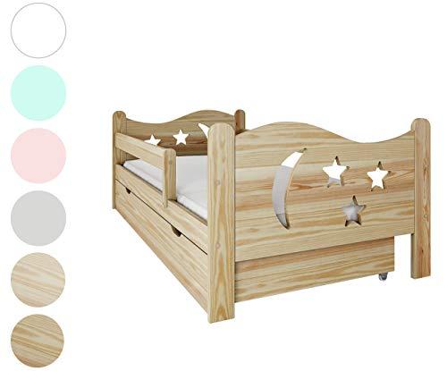 NeedSleep Rausfallschutz Kinderbett Komplett - Bett mit Matratze 80x140 80x160 | Lattenrost und Schublade | für Kinder ab 2 jahren | Mädchen Junge | Montessori Kinderzimmer Funktionsbett | Holz