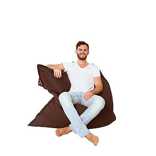 QSack Kultsack mit Toxproof Mikroperlen Sitzsack Füllung schadstoffgeprüft, Kunstleder Sitzsack mit Innenhülle, Neu (Dunkelbraun)