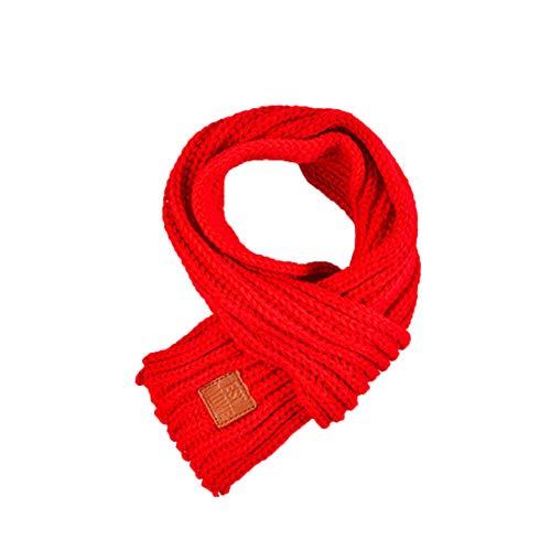 Boomly Baby Kinder Strickschal Wollschal Niedlich Winter warm Schals Halstücher Nackenwärmer Für Jungen Mädchen (Rot)