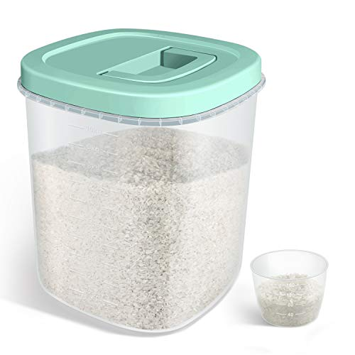 TBMax Airtight Rice Storage Container – 20 Lbs Bulk Food Container Bin with Measuring Cup – Perfect for Rice Flour Cereal Pet Food Storage – Green