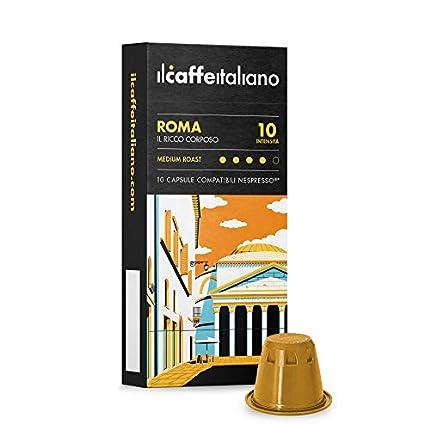 FRHOME - Nespresso 100 Càpsulas compatibles - Il Caffè Italiano - Mezcla Roma Intensidad 10