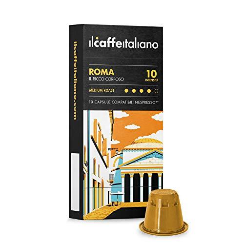 Nespresso, 100 Kaffeekapseln mit dem Nespresso kombpatible - Il Caffè Italiano - Mischung Roma, Intensität 10