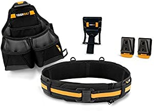 ToughBuilt - Pro Framer Tool Belt Set - 3-Piece, Includes 1 Pouch, Padded Belt, Heavy Duty, Deluxe Premium Quality, Durable - 10 Pockets, Hammer Loop, Patented ClipTech Hubs (TB-CT-102-3)
