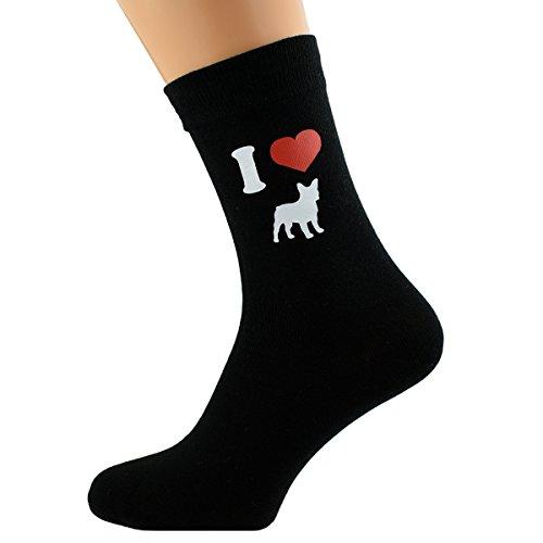 Hombre I Love Bulldogs Francés Calcetines Negros UK Size 5-12 (X6N122)
