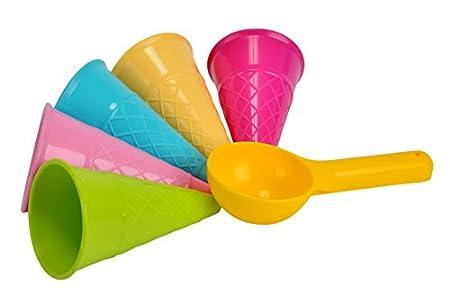 Simba 107108605 - Sandformen Eis, 5 Waffeln, 1 Portionierer, Sandspielzeug, 15cm, Geschenkset, Sandkasten