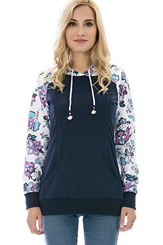 Bearsland Women's Maternity Sporty Hoodie Breastfeeding Shirt Nursing Sweatshirt with Pockets,whiteblue,XL