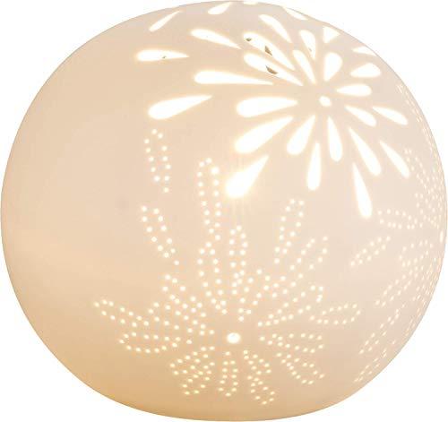 Schreib Tisch Lampe Porzellan Leuchte Weiß Matt Kugel Kabel 1,8m Beleuchtung