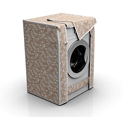 Funda impermeable para lavadoras y secadoras (60 x 80 x 60 cm), varios diseños, funda para lavadora para exterior, antipolvo, antirayos UV, antióxido y decoloración, flor en relieve beige
