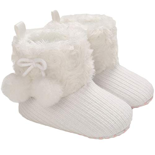 Tcesud Winter Warm Baby Boys Girls Snow Boots Soft Sole Fur Infant Toddler Slip On Bowknot Booties for Baby Girls 0-18 Months(12-18 Months,White)