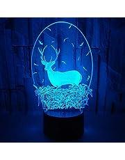 Jul snögubbe 3D-lampa akryl nattlampa för barnrum USB eller AA batteriladdning bordslampa heminredning belysning lampa LED Art déco L Christmas Deer