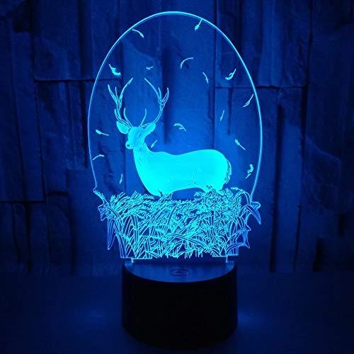 Weihnachts-Schneemann-Lampe, Acryl-Nachtlicht für Kinderzimmer, USB- oder AA-Batterie, Tischlampe, Heimdekoration, Luminaria Lampe LED, A, Weihnachten Hirsch, L