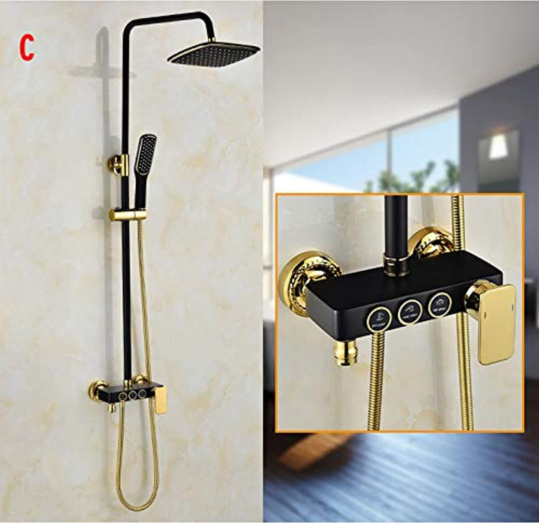 Swei Eingebauter Duschsatz, kühl schwarz verGoldet, integrierter Einteiler 4-Gang-Booster-Dusche (c0022)