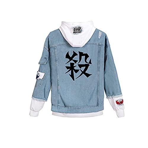 GYINGY Chaqueta de mujer de mujer con capucha unisex chaqueta vaquera abrigo con capucha disfraz Cosplay Demon Slayer: Kimetsu No Yaiba Kamado Tanjirou D 3XL