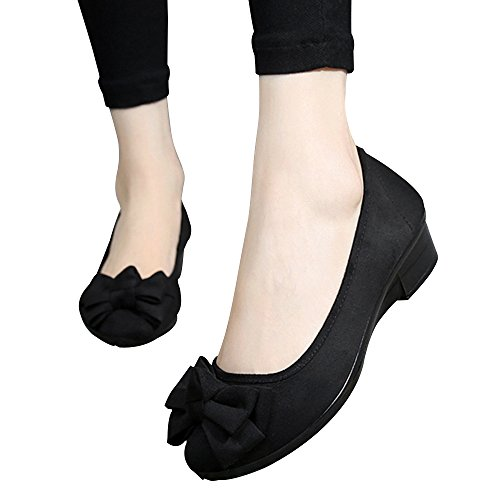 YSDAI New Old Beijing Shoes Shoes peas Shoes Spring and Autumn Soft Bottom Butterfly Slope with Mother Black Work Shoes