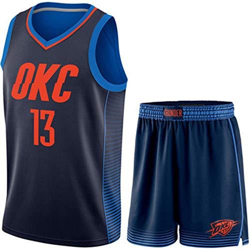 Top Qualität Donner 13 OKC Basketball Jersey Uniformen Sport Basketball Shirts Genähte Männer Anzug Stadt Version,Blue(B) 13-L