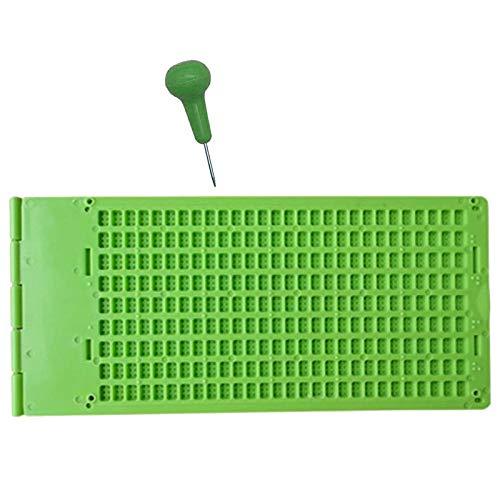 WANWE 9 LíNeas 30 Celdas Braille Writing Slate y Stylus Plastic Braille Slate Kit para la Blind
