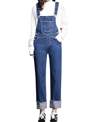 Firehood Womens Denim Bib Overalls Jumpsuit Relaxed Jeans Long Rompers (36, Blue)