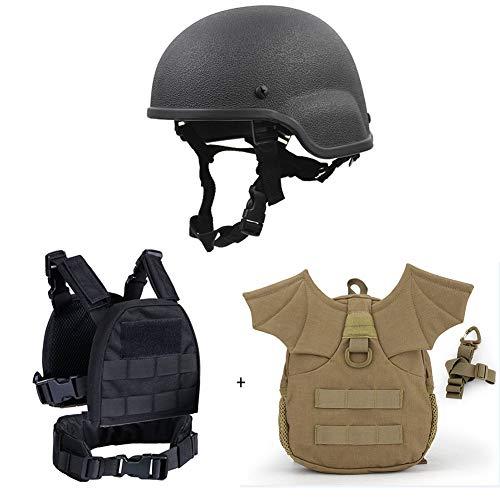 Ensemble de costume casque tactique pour enfants - sac à dos casque casque MICH 2000, chasse enfant sécurité militaire pour pistolet sport plein air Airsoft Paintball CS jeu randonnée Camping ,Bk