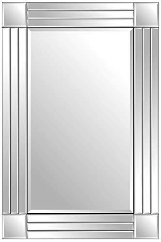 TarLink® zilveren moderne drievoudig afgeschuinde Venetiaanse rechthoek muur gemonteerde spiegel 120cm x 80cm