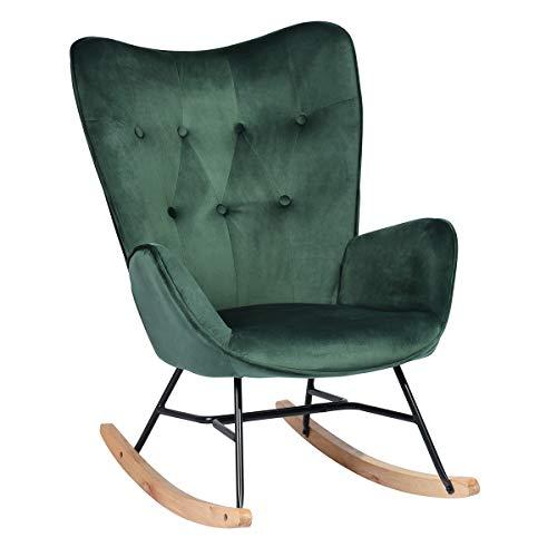 HOMYCASA Schaukelstuhl Wippe Relax Lounge Stoffstuhl Relaxsessel Relaxsessel Knopf Dekor Leinen mit gepolsterter Sitzfläche (grün)