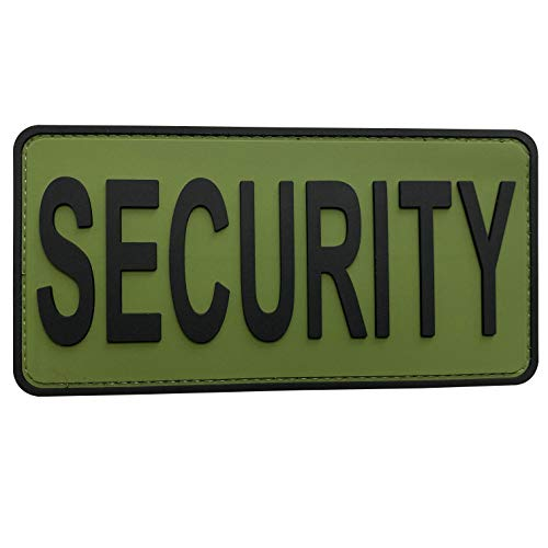 uuKen Security K-9 Police Patch PVC Rubber 3x6 inch Hook Back for Tactical Service Dog Harness Vest Collar (OD Green and Black, M 6'x3')