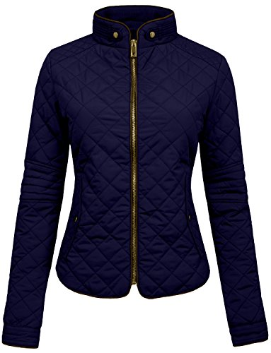 NE PEOPLE Womens Lightweight Quilted Zip Jacket, Small, NEWJ22NAVY