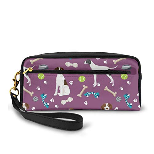Estuche para lápices con puntero inglés de tela para perros y juguetes, color morado, bolsa de maquillaje, gran capacidad, impermeable, para estudiantes o mujeres