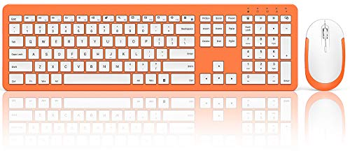 Rechargeable Wireless Keyboard Mouse Combo - Full Size Cordless Keyboard & Mouse Sets with Build-in Lithium Battery Ultra Thin Quiet Keyboard Mice for Windows Computers - Living Coral & White