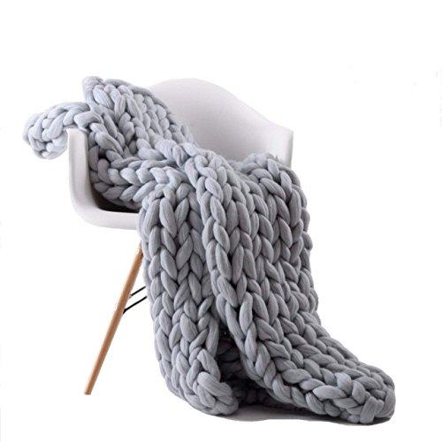 "VIYEAR Chunky Knit Blanket Soft Handmade Knitting Throw for Bedroom Sofa Decor Super Large, Gray, 40"" x 47"""