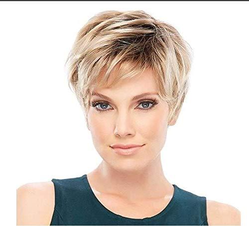 Perruques coupe courte blonde Pixie perruques avec frange perruque de cheveux naturels pour les femmes blanches,01