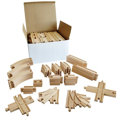 Tiny Conductors Wooden Train Set - 52-Piece Train Track Collection...