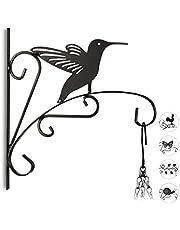 Relaxdays, Negro macetas pájaro, Gancho de Pared para cestos, decoración de jardín, Metal, 30 x 28 x 2 cm