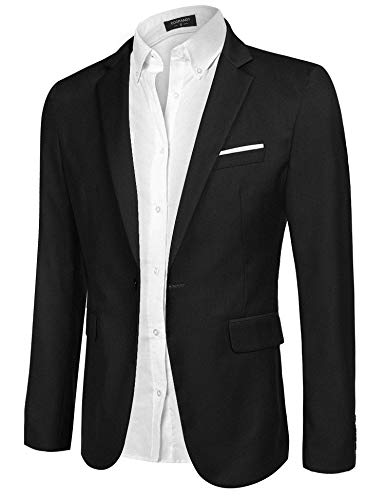COOFANDY Men's Casual Blazer Jacket Slim Fit Sport Coats Lightweight One Button Suit Jacket Black