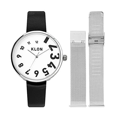 腕時計 替えベルト セット メンズ レディース 2way ブラック シルバー 人気 ブランド おしゃれ レザー 38mm KLON EDDY TIME -REPLACE model- [38/W-FACE]