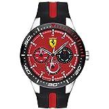 Ferrari RedRev, Quartz Stainless Steel and Silicone Strap Casual Watch, Black, Men, 830588